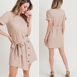 """Aspen"" Asymmetrical side button dress"